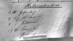 """Rezept für """"Hallorenkuchen"""" mit Angaben in Sütterlin."""