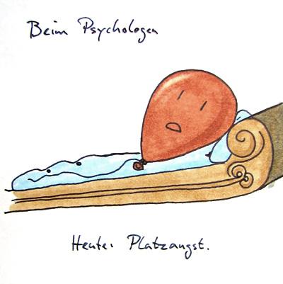 Luftballon auf einer Chaiselongue (so eine stereotype Psychologen-Liege). Beschriftung: Beim Psychologen. Heute: Platzangst.